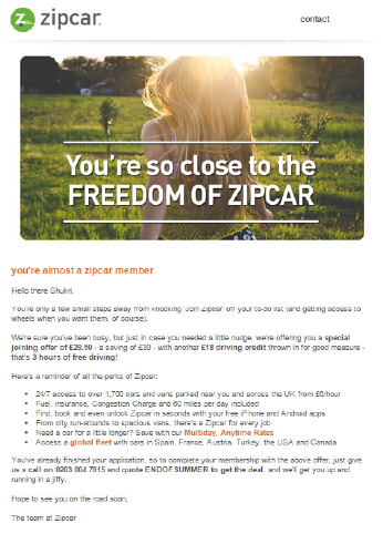 Zipcar Re-Targeting Automation